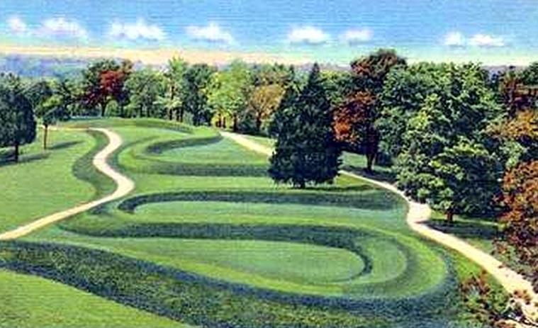 Postcard image of the Serpent Mound, Ohio
