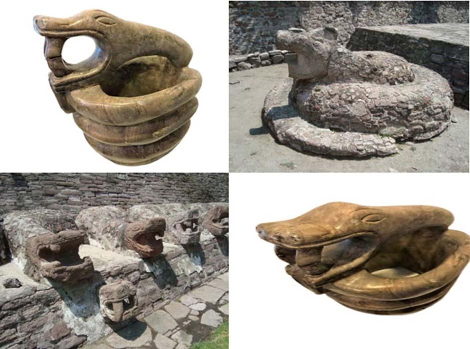 Top left to Bottom Left: Serpent artifact, (Author), Single serpent, Kukulkan, (Jose Miguel, Almeyda), Serpent model, (Author), Serpent heads Kukulkan, (Jose Miguel Almeyda)