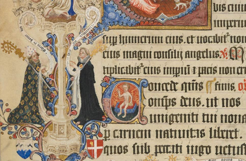 Detail of illuminated art in the Sherborne Missal. Source: Public Domain
