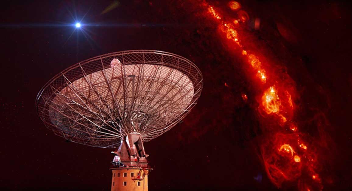 CSIRO's Parkes radio telescope with a representation of an FRB.