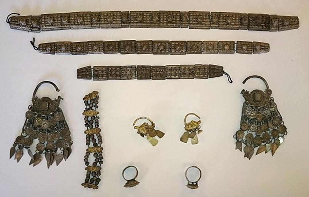 Silver adornments from the 17th century treasure discovered near Montana in Northwest Bulgaria.