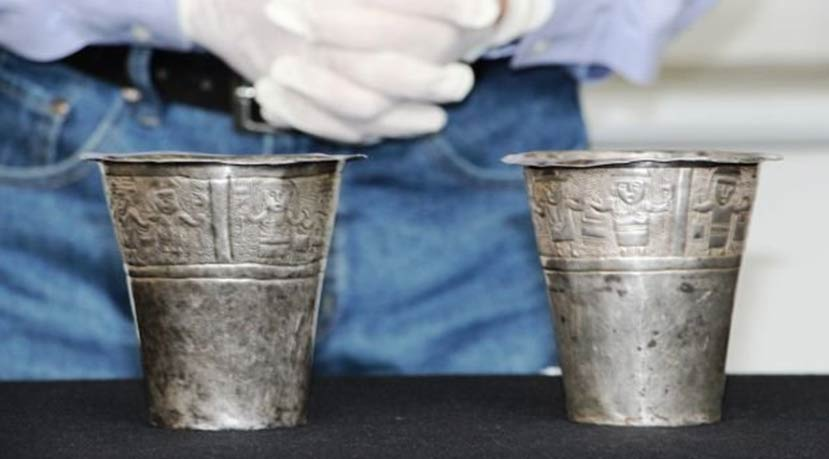 Silver cups from ancient Peruvian
