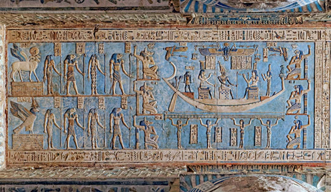 The astronomical ceiling at the Pronaos, Detail of the first Band west from the center. From left to right: two wind creatures (the winged ram with four heads personifies the south wind), the snake- and frog-headed eight goddesses and gods of the Ogdoad who ruled the cosmos before the creation of the world and Osiris seated on a throne sails across the sky as personification of the full moon accompanied by the seated goddesses Nephtys (left) and Isis on the right (Maat stands near the bow of the ship). Siri