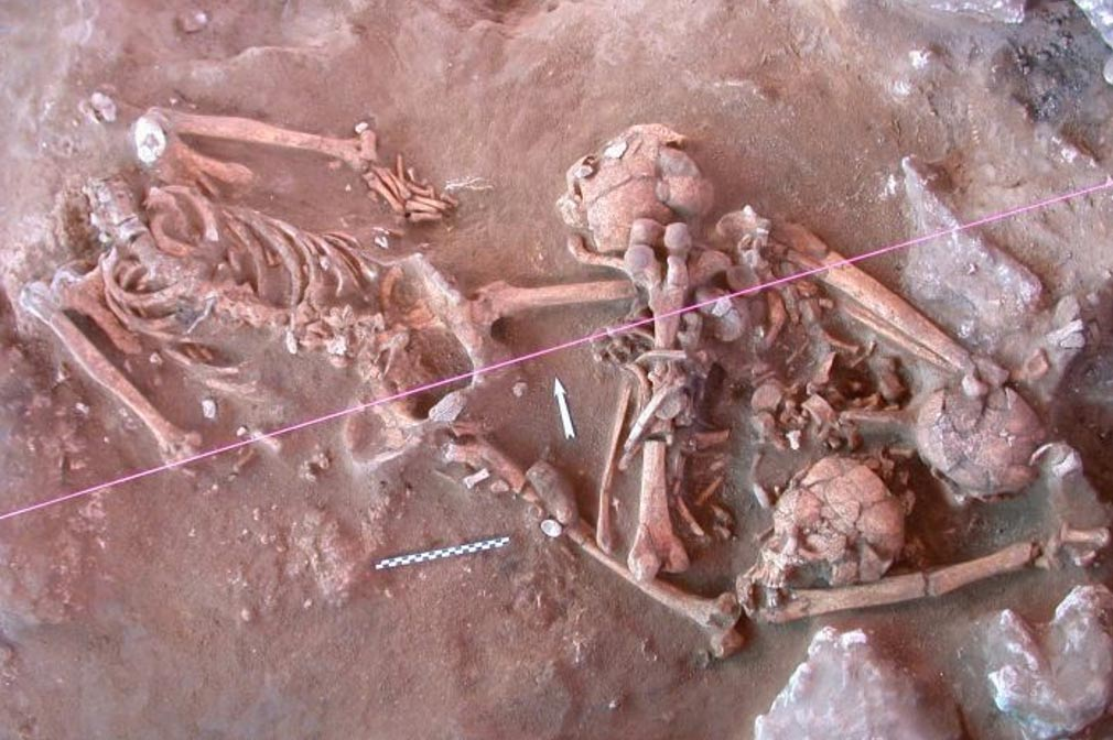 Skeletons unearthed at a 3,000-year-old cemetery in Vanuatu.