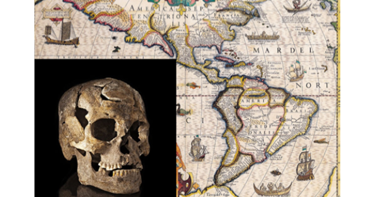 Map of the Americas circa 1619. Insert: Paleoamerican skull from Burial 1, Lapa do Santo site, Brazil.
