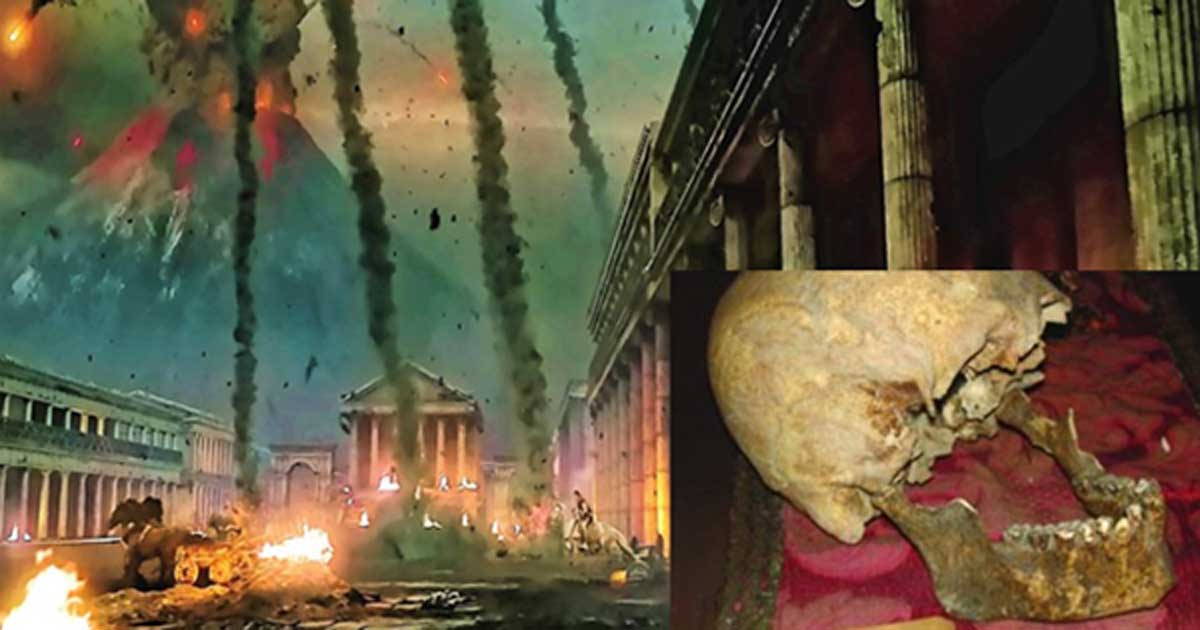 """Scene of destruction in the film """"Pompeii 3d"""" (2014). (La Stampa/CC BY NC ND) Insert: Remains of a skull attributed to Pliny the Elder from the Museo di Storia dell'Arte Sanitaria in Rome."""
