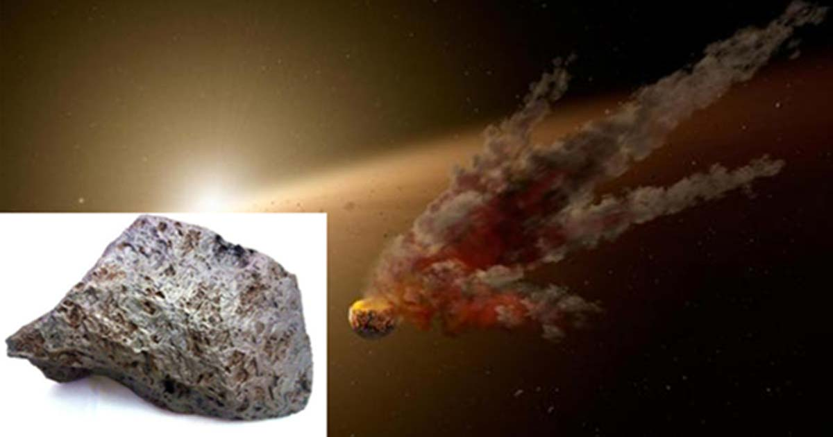 A meteorite in space. (Public Domain) Insert: This meteorite is the oldest item to have ever been bought in an auction.