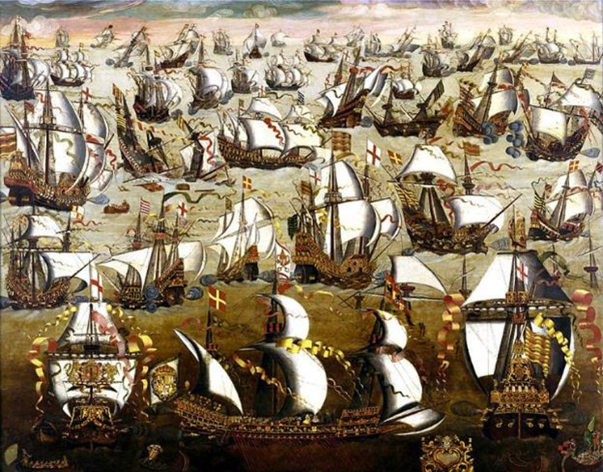 The Spanish Armada and English ships in August 1588, (unknown, 16th-century, English School)