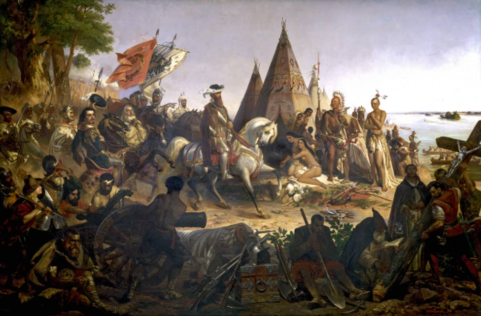 Hernando De Soto and Spanish Conquistadores seeing the Mississippi River for the first time.