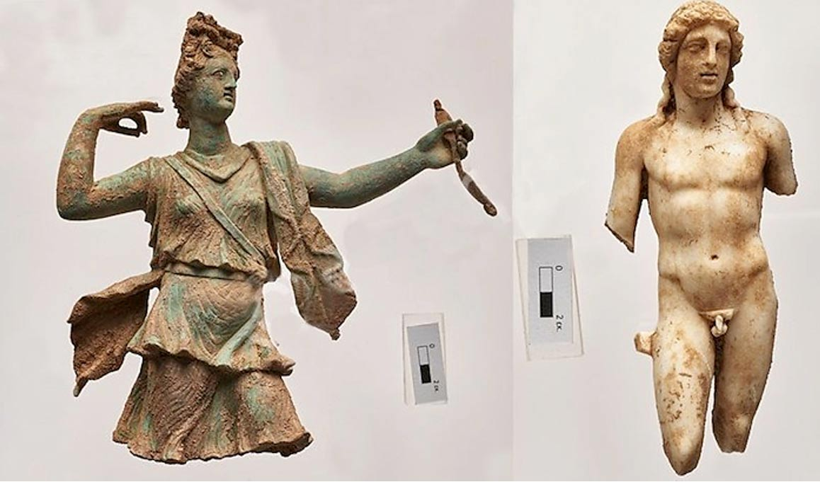 The bronze statuette of Artemis and the marble one of Apollo.