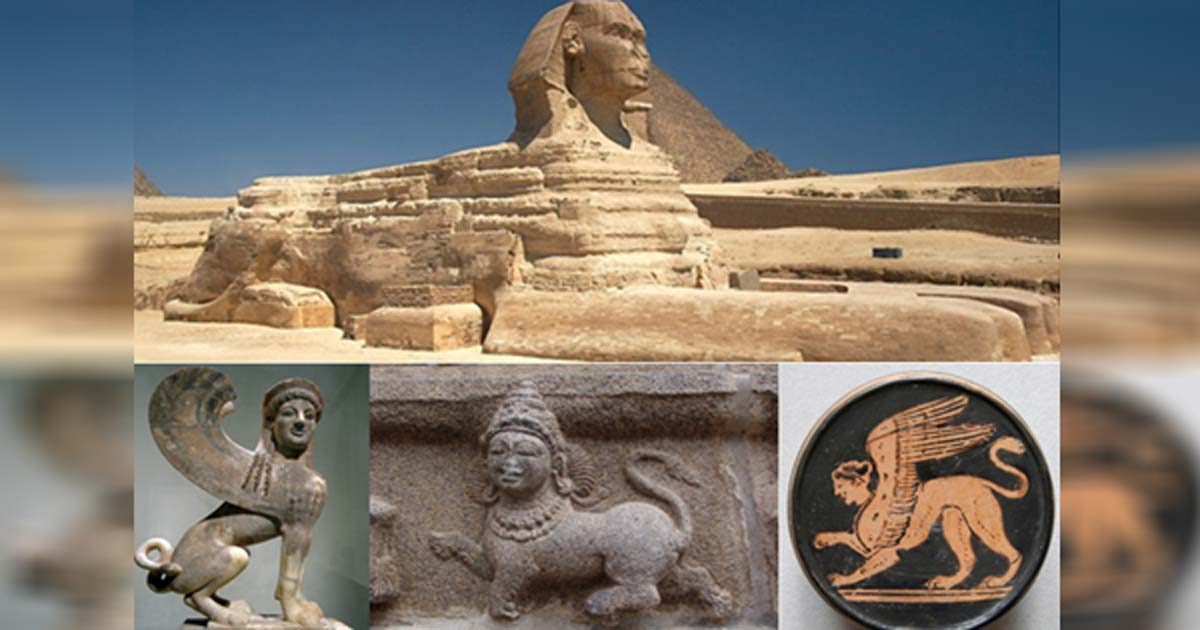Montage of sphinx creature representations.