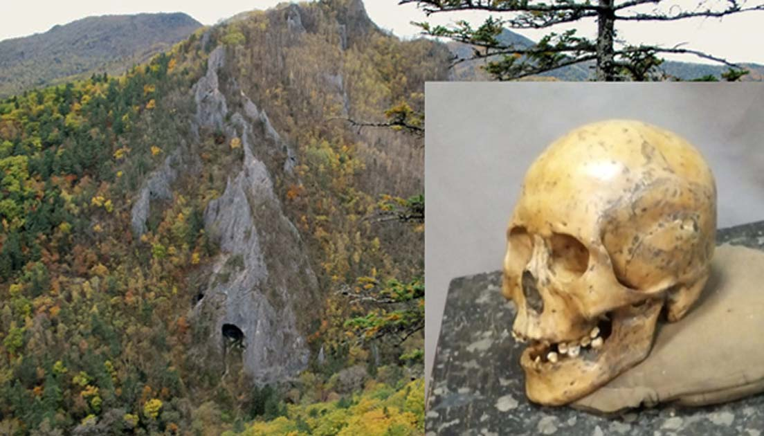 Devil's Gate Cave in far east Russia. (Yuriy Chernyavskiy/Creative Commons) Insert: A human skull found at Devil's Gate Cave from 7,700 years ago. (Ulsan Institute of Science and Technology)