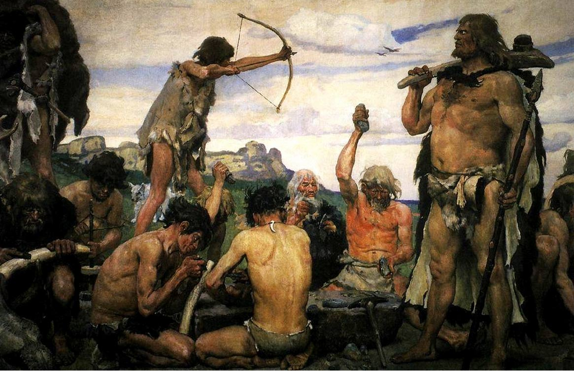 Artist's depiction of Stone Age peoples