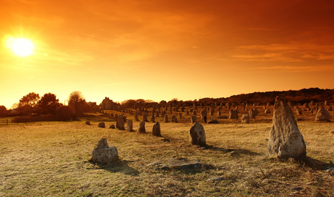 Carnac Stones, Brittany. Stone Age sailors may have spread this kind of megalithic monument building practice.