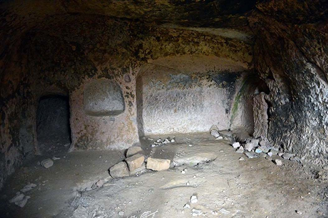 A chamber in Belağası Underground City in Gesi district, Kayseri Province, Turkey
