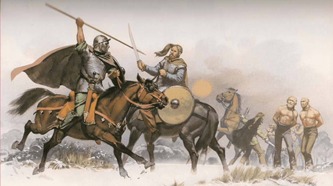 A fight between a Roman and a Germanic warrior.