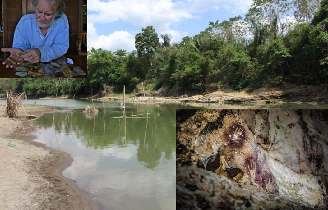 The Walanae River at Paroto, east of Talepu, where some of the tools were found. Inserts: Professor Mike Morwood in 2009 examining stone artifacts collected near Talepu and Hand stencils in the Cave of Fingers.