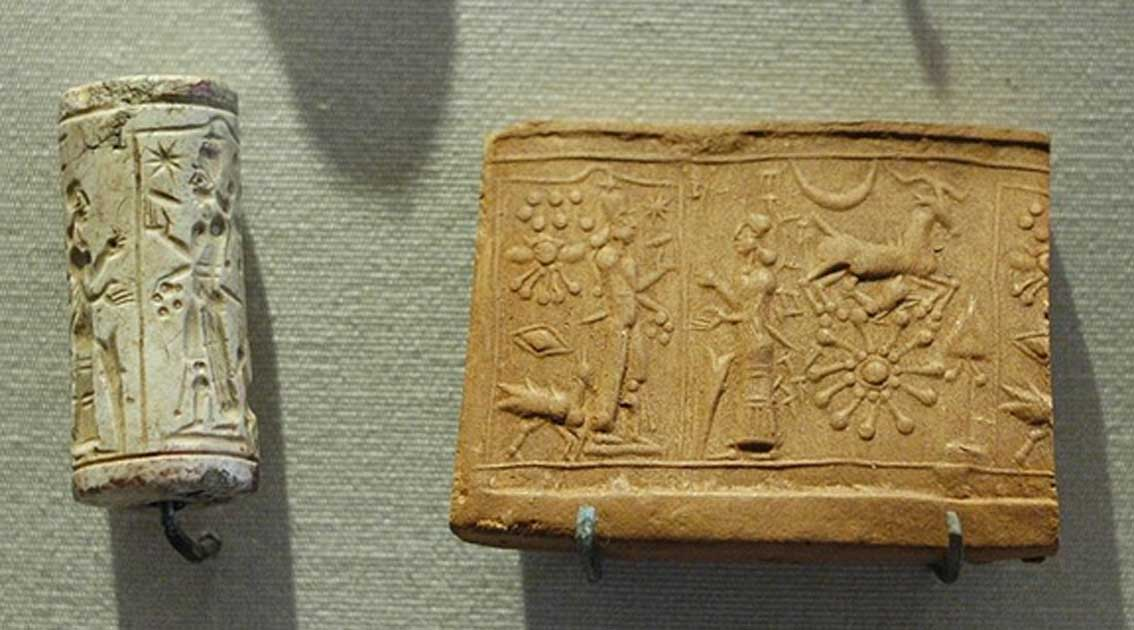 Cult scene: the worship of the sun-god, Shamash. Limestone cylinder-seal, Mesopotamia.