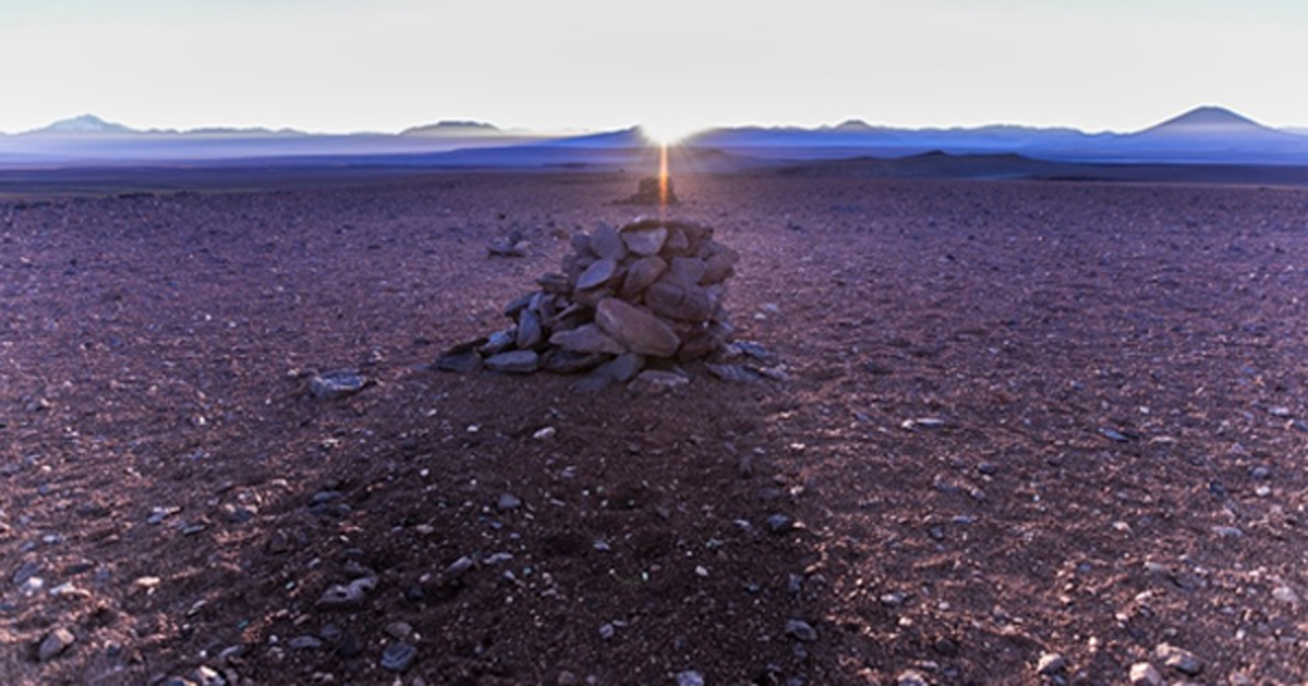 The alignment of the rising sun on the winter solstice with the Saywas in the Atacama desert, Chile.
