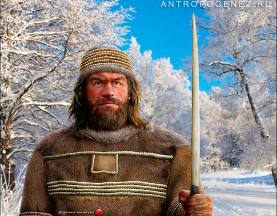 Reconstruction of Sungir man with mammoth tusk spear.