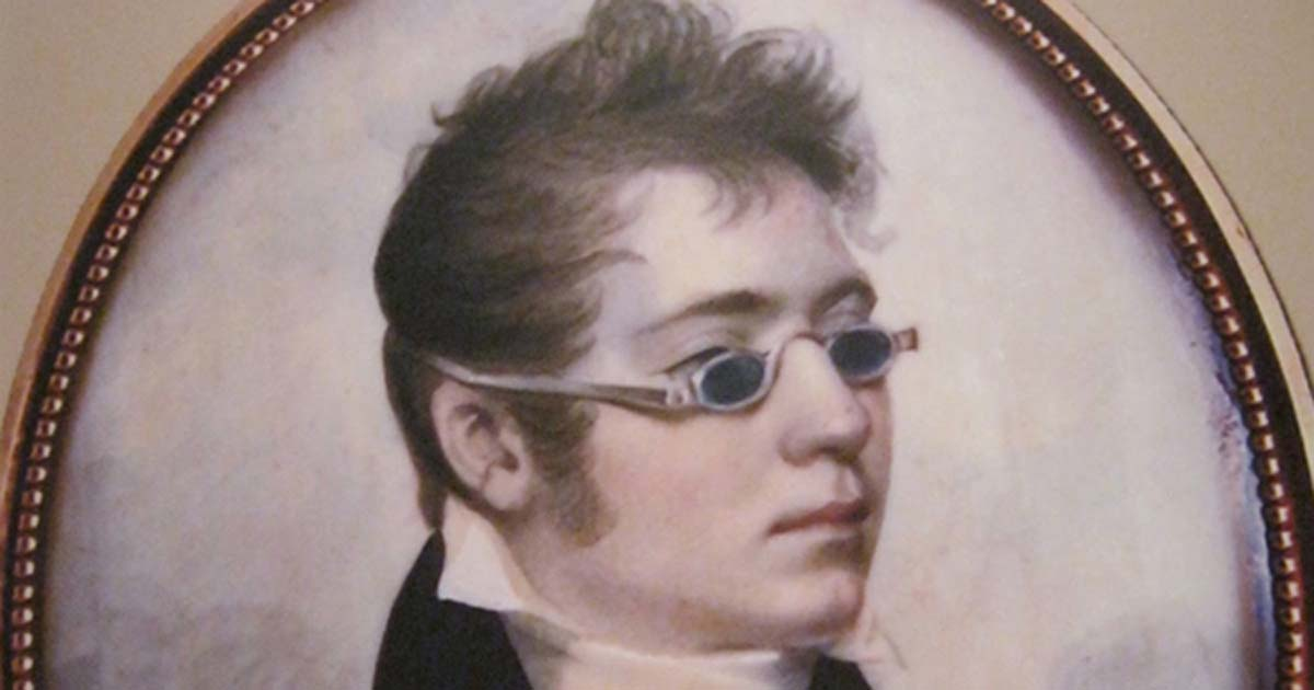 59985276089 Detail of portrait from 1807 showing a young man in  sunglasses.