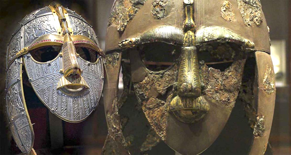 The Sutton Hoo movie that will tell the story of the famous Anglo-Saxon treasure is due to come out on Netflix soon. Right: A replica of the Sutton Hoo helmet produced for the British Museum by the Royal Armouries. (CC BY-SA 2.5). Left: The original Sutton Hoo helmet. (CC BY-SA 2.0)