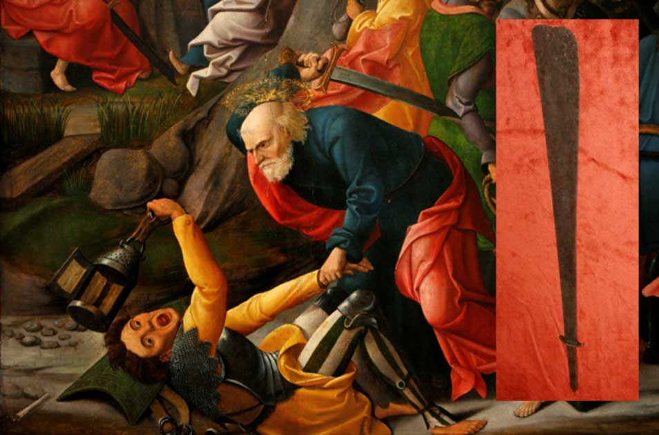 A depiction of Peter using his sword to strike Malchus (circa 1520, Musée des Beaux-Arts de Dijon).
