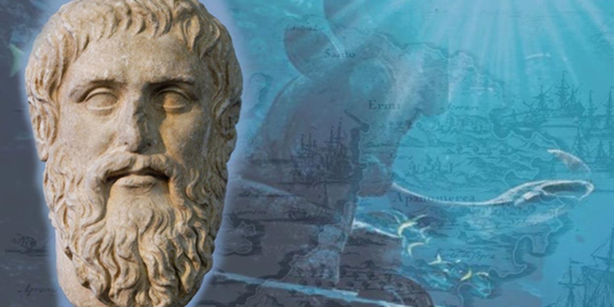 Deriv; Bust of Plato, map of Santorini, 1703, underwater ruin.