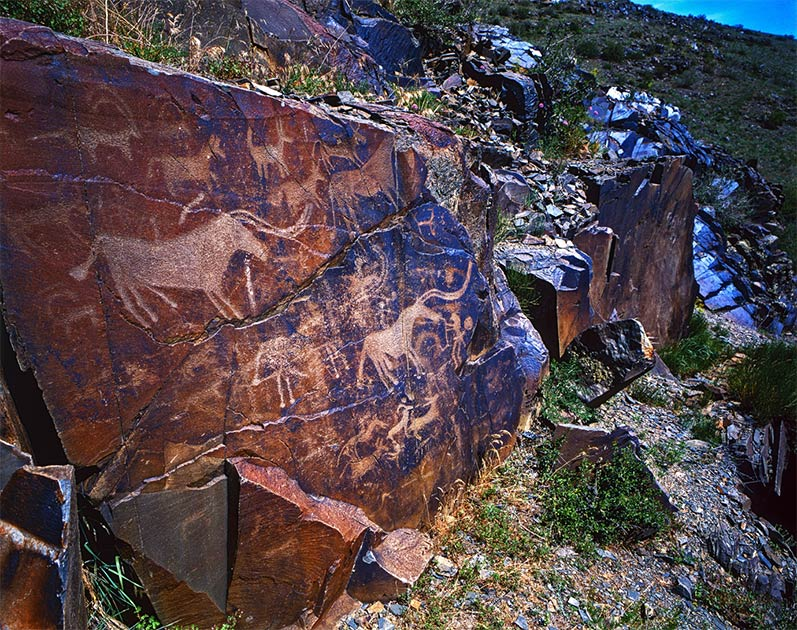 Petroglyph of the archaeological landscape of Tamgaly         Source: victor21041958 / Adobe Stock