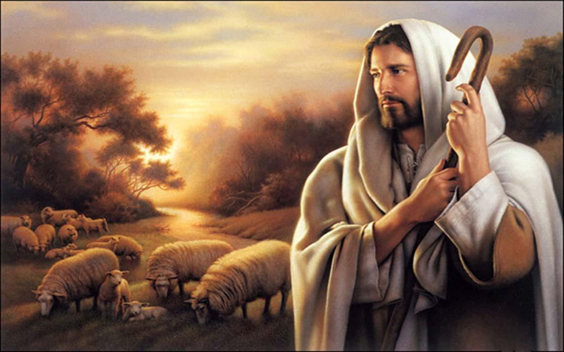 A shepherd (Jesus? Tammuz? Other?) with his flock.
