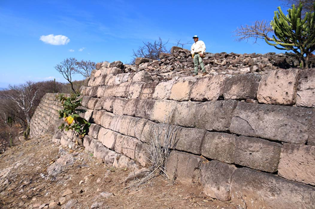 A view of the great megalithic walls surrounding the Acropolis of Chimalacatlan. Some of the stones measure over 3 meters long, with an estimated weight of between 5 to 8 tons.