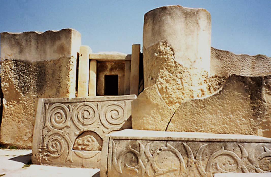 View inside the prehistoric Tarxien Temples, Tarxien, Malta.