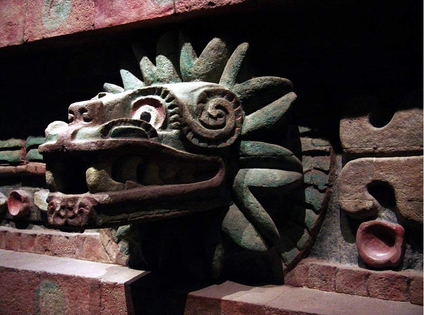 Part of the facade of the Temple of the Feathered Serpent of Teotihuacán, now at the Mexican National Museum of Anthropology; eagles and rattlesnakes were among the animals kept and/or sacrificed at the ancient city.