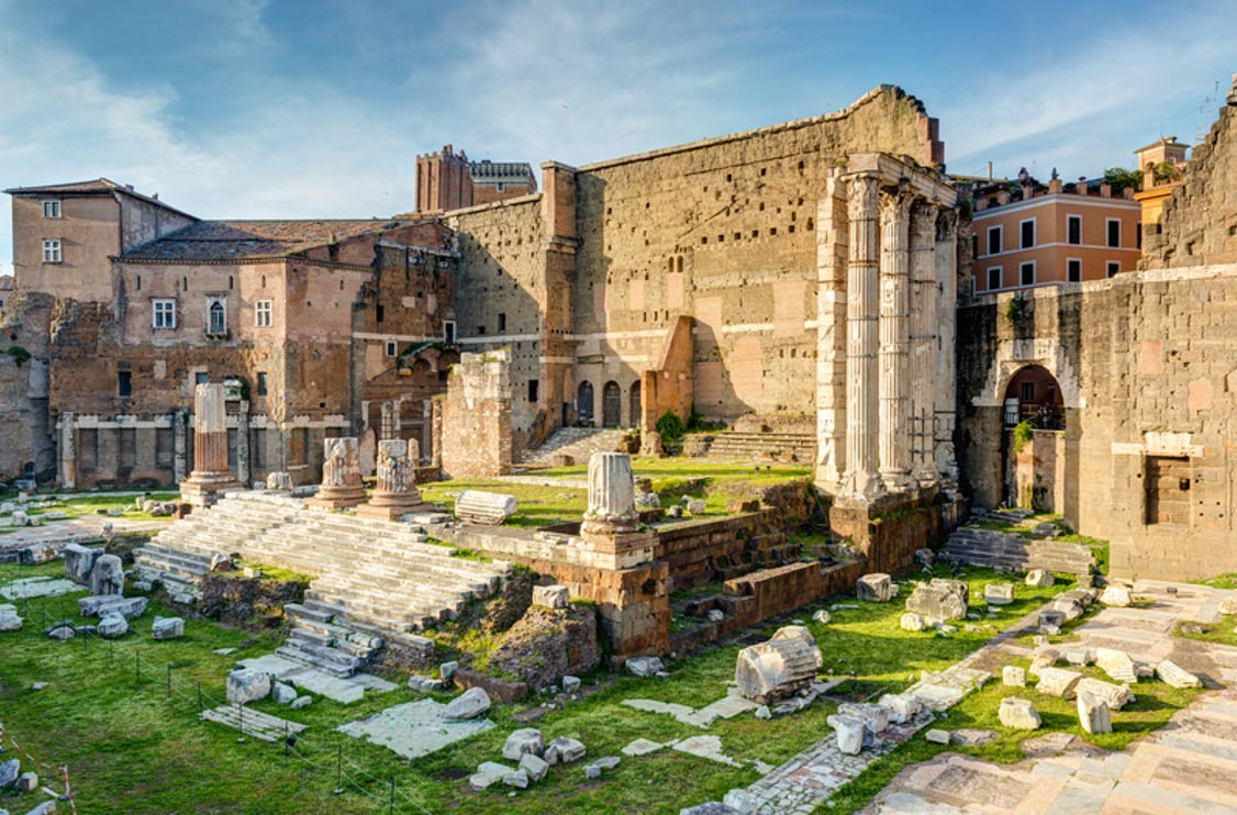 The Temple of Mars Ultor, constructed under Caesar Augustus in Rome's Forum of Augustus