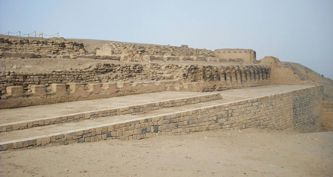 The Temple of the Sun, in front of which almost 100 bodies, including many infants, were excavated from an unlooted tomb.