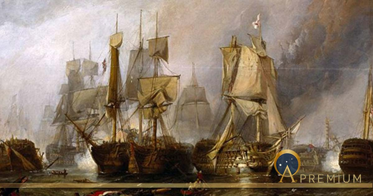 Sketch for 'The Battle of Trafalgar, and the Victory of Lord Nelson over the Combined French and Spanish Fleets, October 21, 1805' by Clarkson Frederick Stanfield  (1793–1867) (Public Domain)