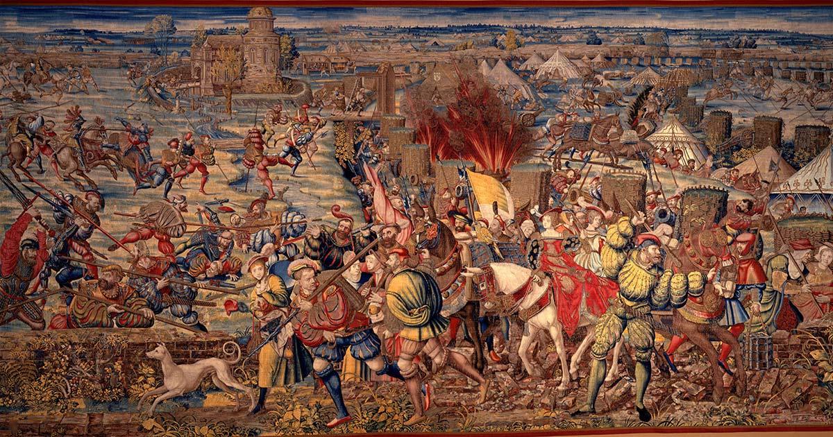 Detail of 'The Battle of Pavia' (1528-1531) by Bernard van Orley and William Dermoyen.