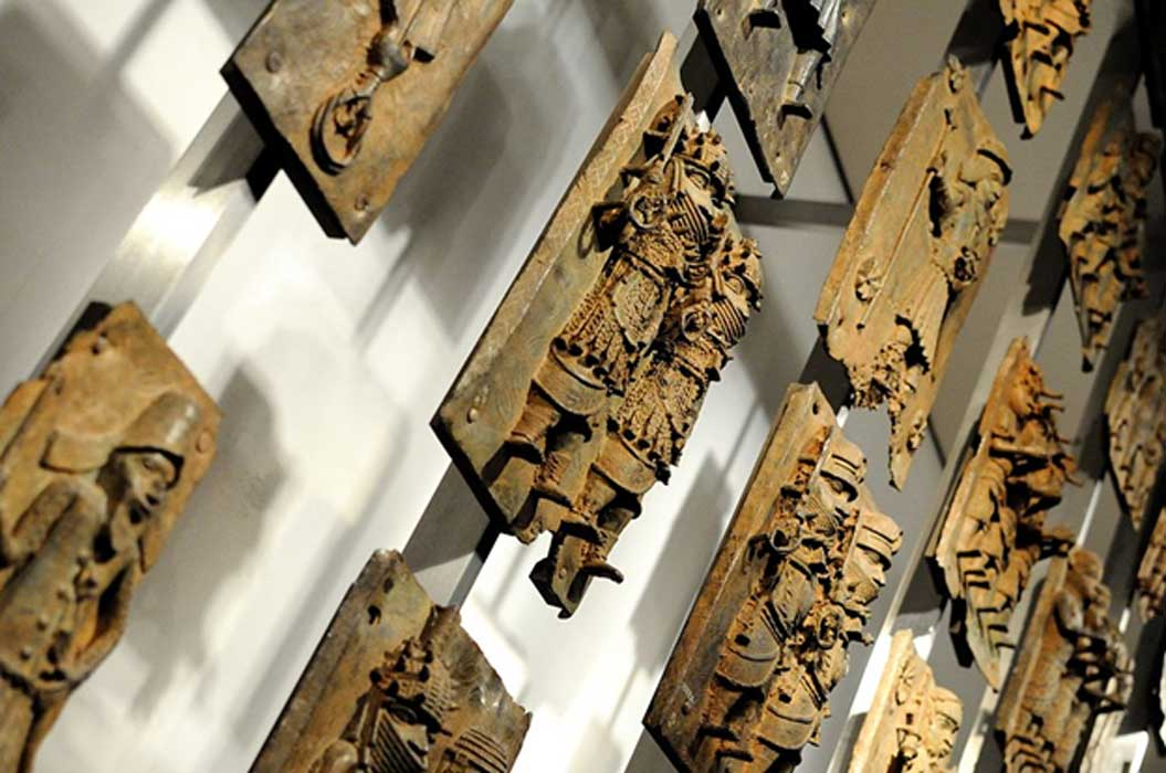 A display of the Benin Bronzes in the British Museum.