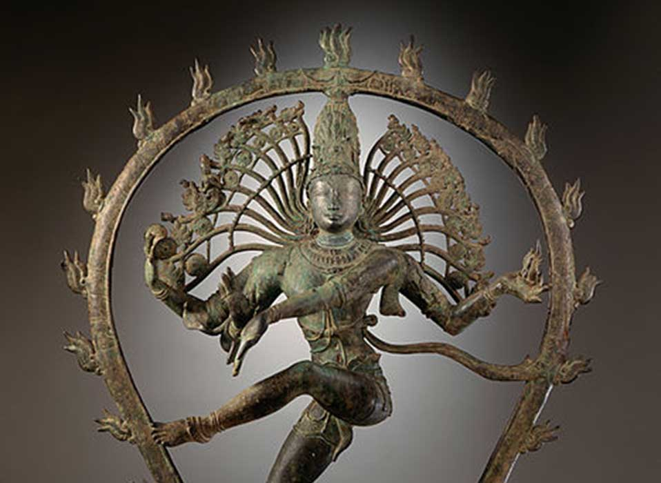 Detail of a bronze statue presenting Shiva as the Lord of Dance. Nataraja from Tamil Nadu, India. Chola Dynasty.