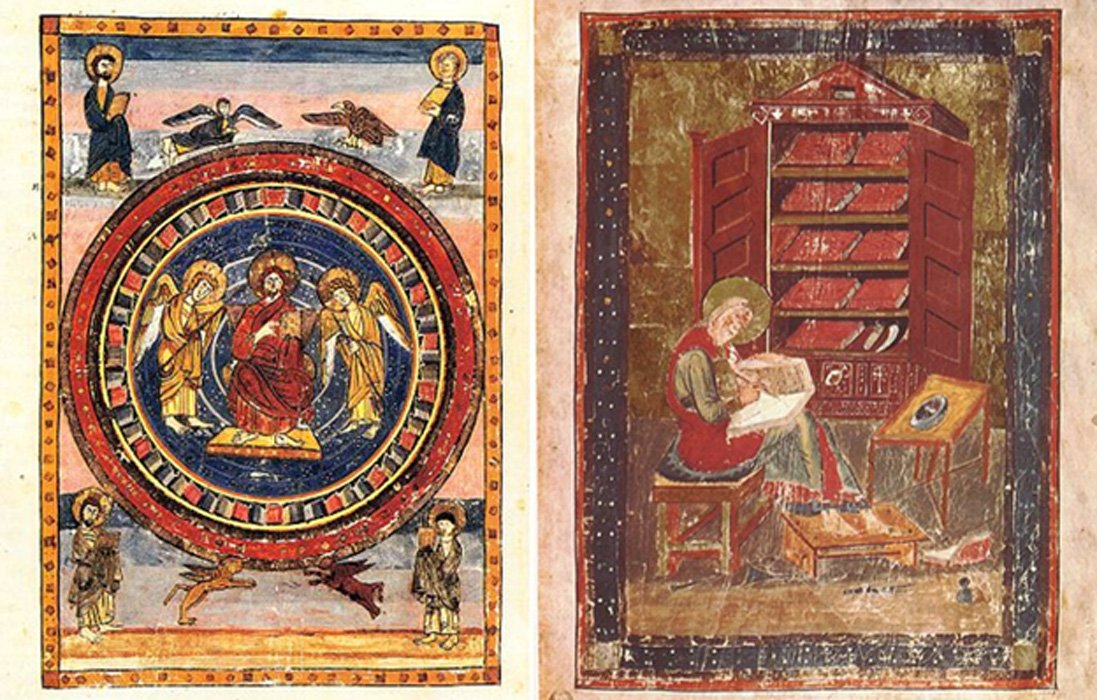 "Maiestas Domini page from Codex Amiatinus (fol. 796v), Firenze, Biblioteca Medicea Laurenziana and folio 5r from the Codex Amiatinus (Florence, Biblioteca Medicea Laurenziana, MS Amiatinus 1), Ezra the scribe. ""When the sacred books had been consumed in the fires of war, Ezra repaired the damage."""