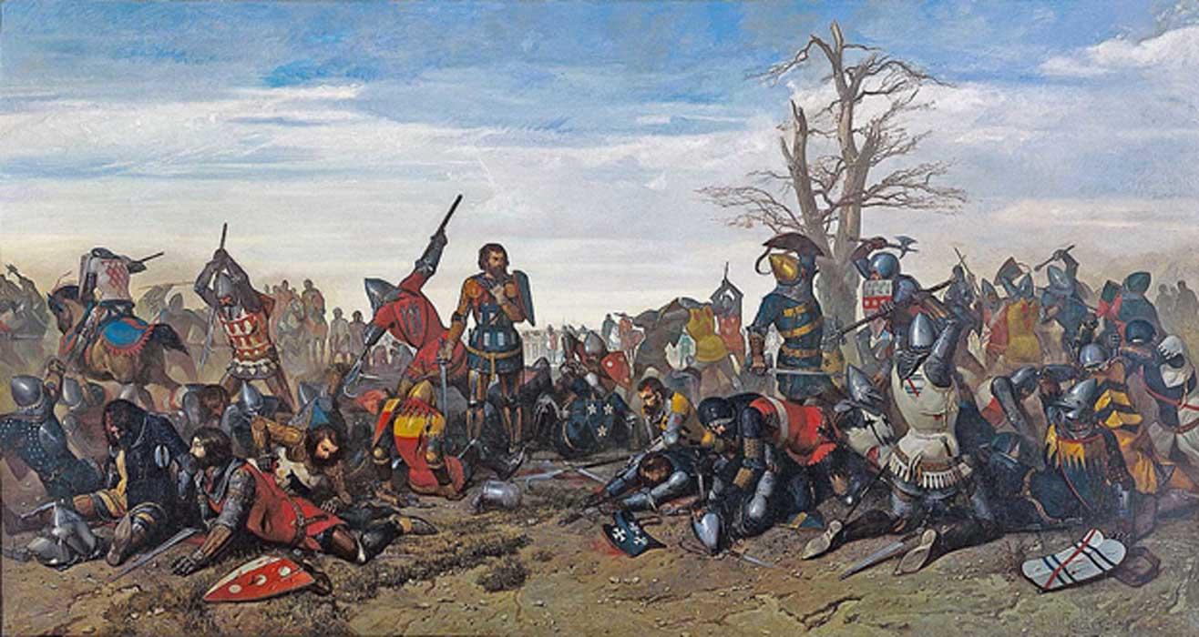 The Combat of the Thirty (26-27 March 1351) (French: Combat des Trente) by Octave Penguilly L'Haridon - Musée des Beaux-Arts de Quimper.