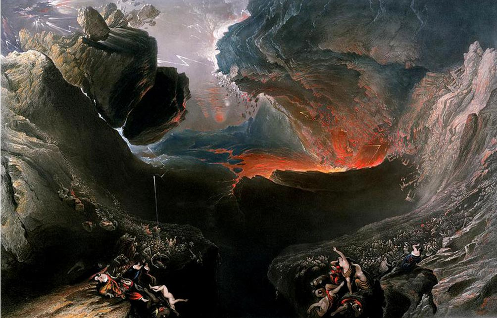 "John Martin's The End of the World, which depicts the ""destruction of Babylon and the material world by natural cataclysm"". (Public Domain)"
