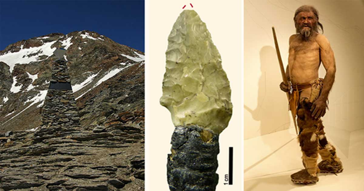 Ötzi Memorial, Austria (GFDL), Ötzi Arrow (Wierer et al), Ötzi Reconstruction (CC BY SA 3.0 )