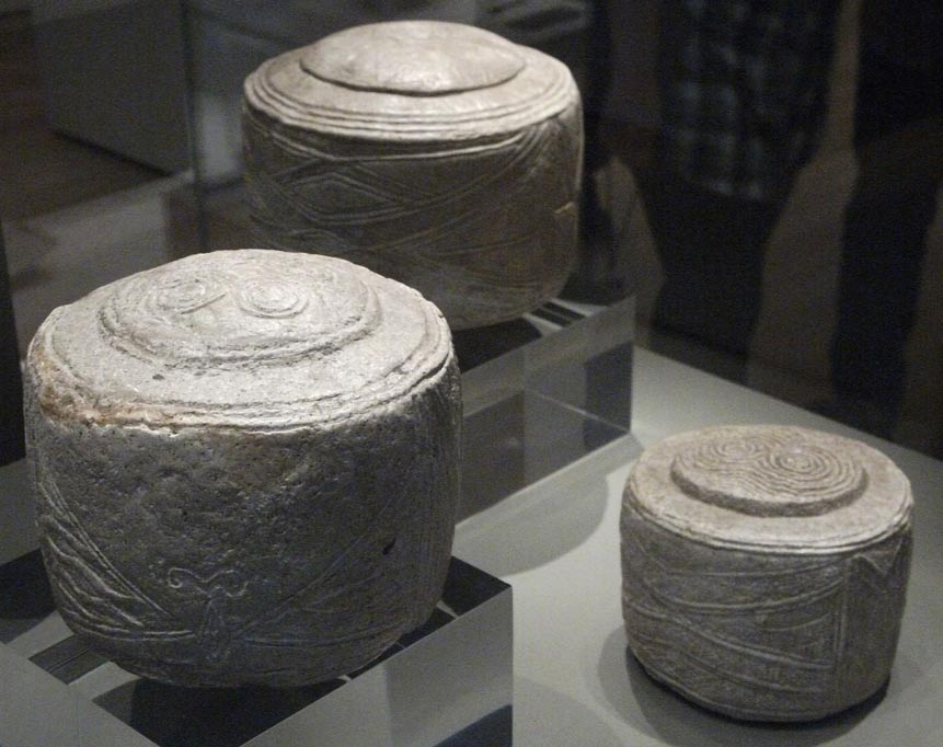 The Folkton Drums were found in East Yorkshire, England, and are on display in the British Museum.