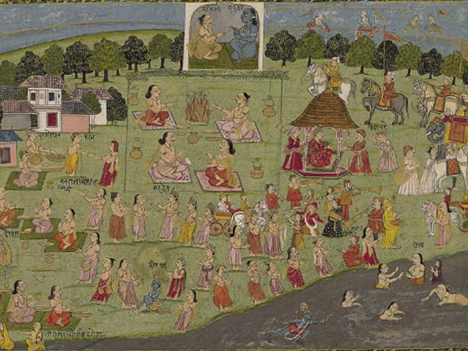 Vedic King Yudhisthira performs the Rajasuya Sacrifice.