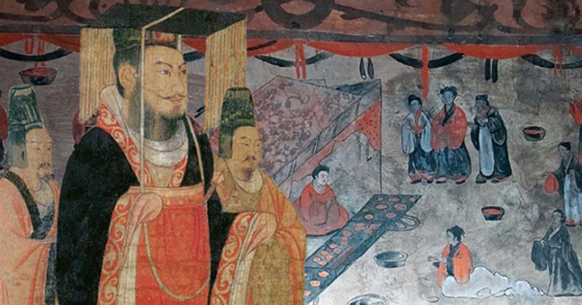 Liu Xiu, Emperor Guangwu of Han, Liu Heng, Emperor Wen of Han, or Cao Pi, King of Wei. (Public Domain) Background: Dahuting tomb banquet scene, mural detail, Eastern Han Dynasty. (Public Domain)