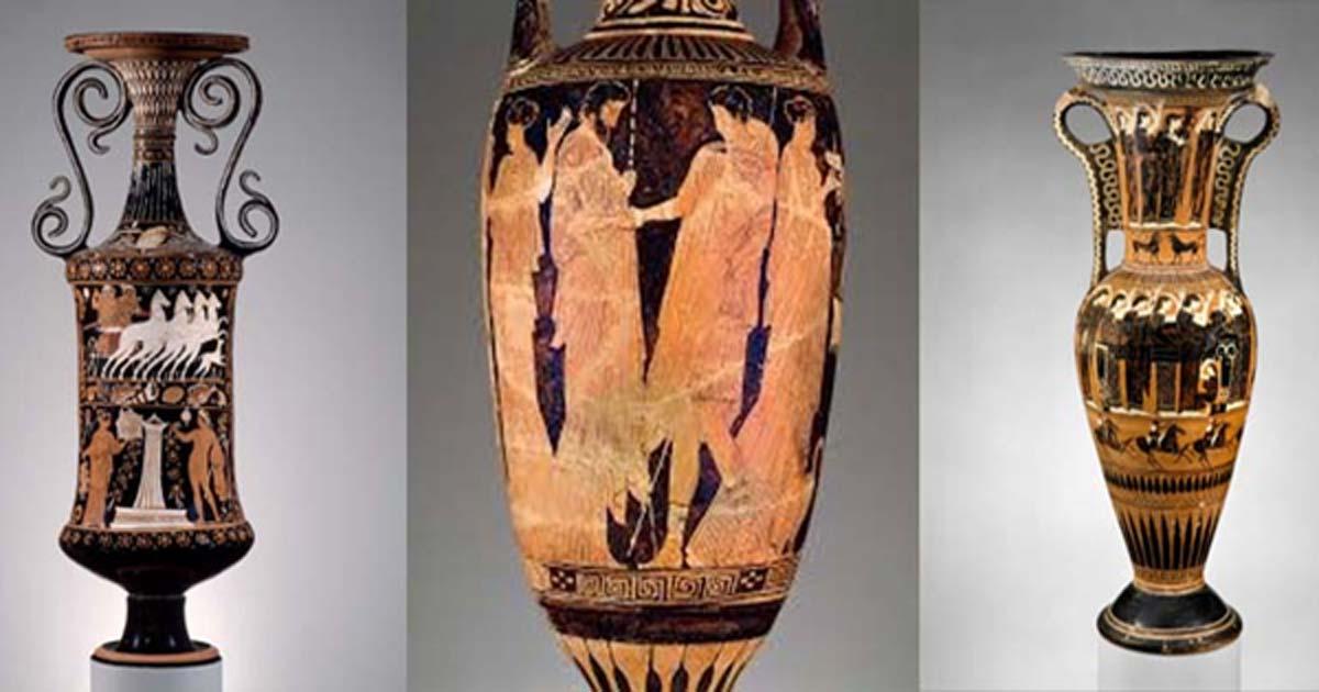 Loutrophorai: Greek, Attica, c.440BC, (Penn Valley); Greek, Classical Period, 450–425 BC (MFA);Greek, South Italian, Early Hellenistic Period c.320–310 BC