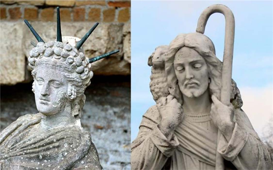 Right: Detail of a statue of a reclining Attis. The Shrine of Attis is situated to the east of the Campus of the Magna Mater in Ostia. Statue of Jesus Christ as a shepherd with a lamb.