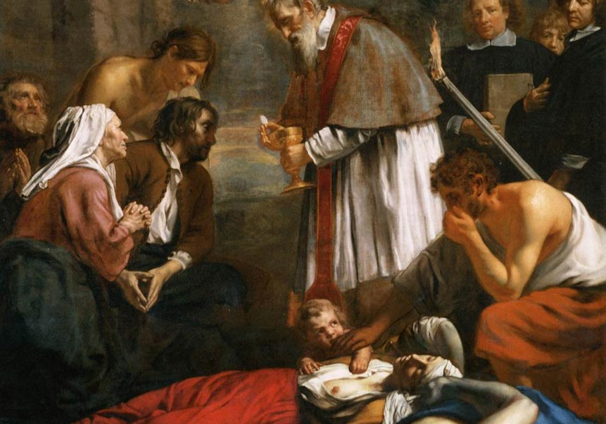 St Macarius of Ghent Giving Aid to the Plague Victims, 1673 painting by Jacob van Oost