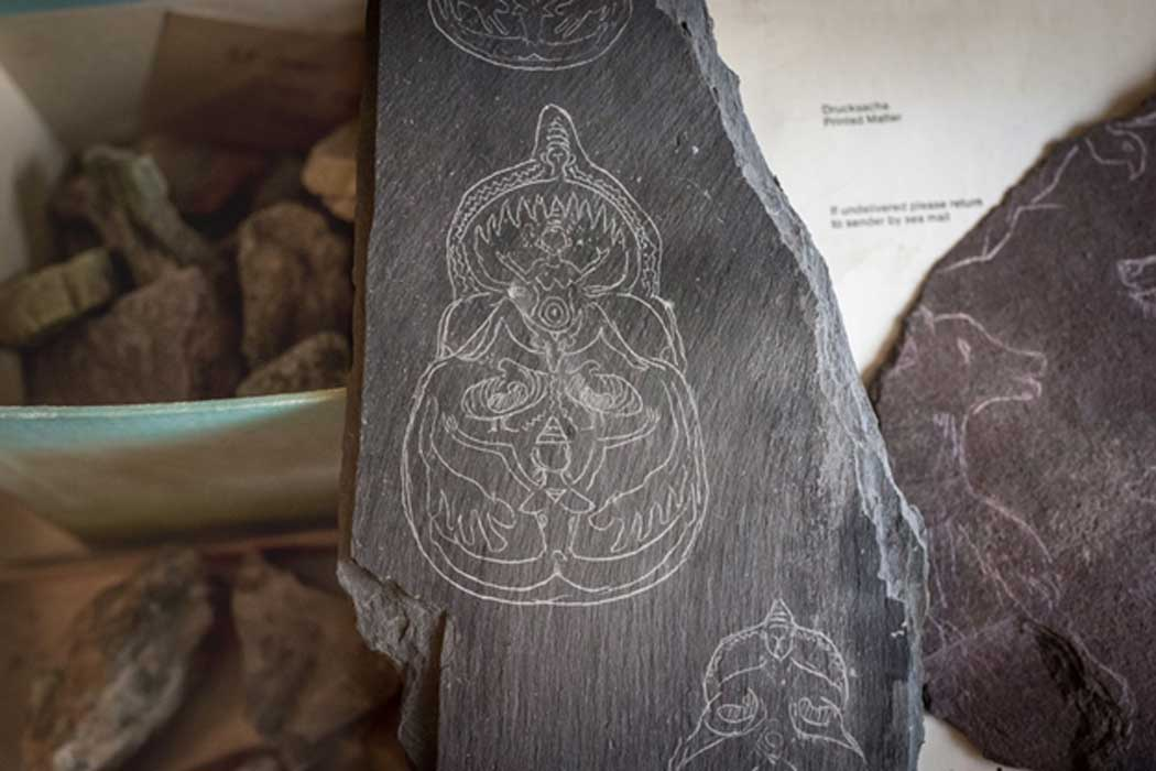 Mellaart claimed to have found these engraved schists at Çatalhöyük. These sketches were also found in Mellaart's apartment.